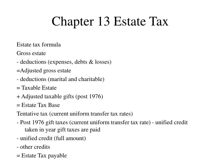 Chapter 13 Estate Tax