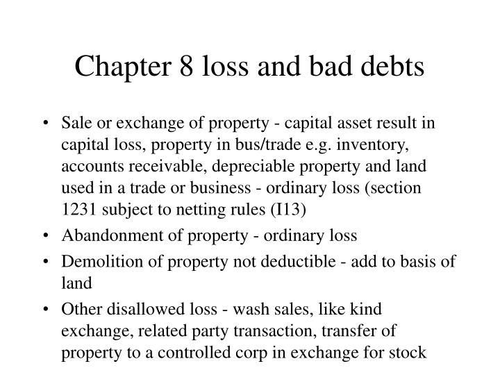 Chapter 8 loss and bad debts