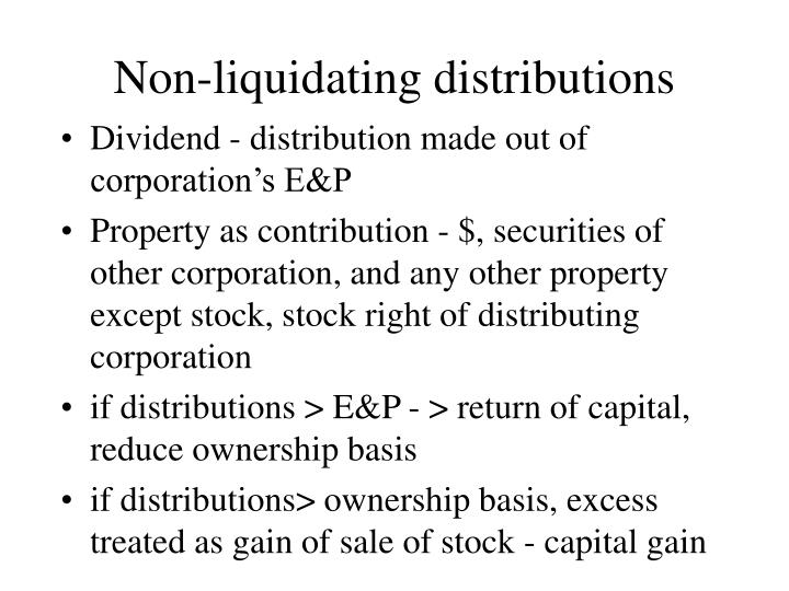 Non-liquidating distributions