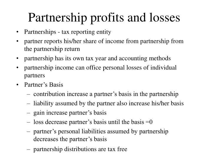 Partnership profits and losses