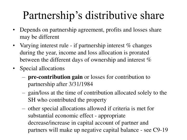 Partnership's distributive share