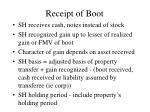 receipt of boot
