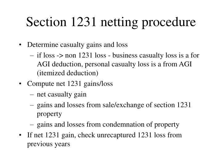 Section 1231 netting procedure
