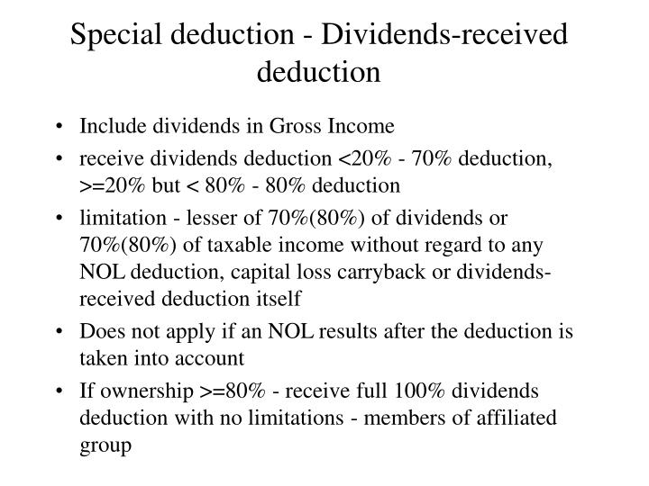 Special deduction - Dividends-received deduction