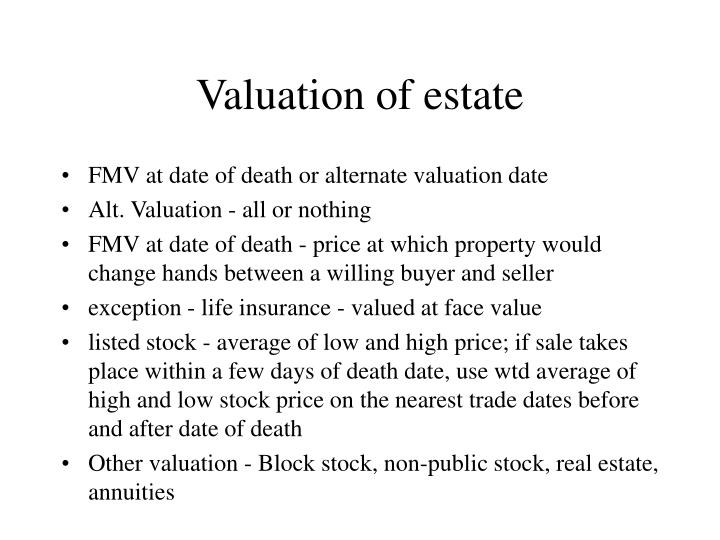 Valuation of estate