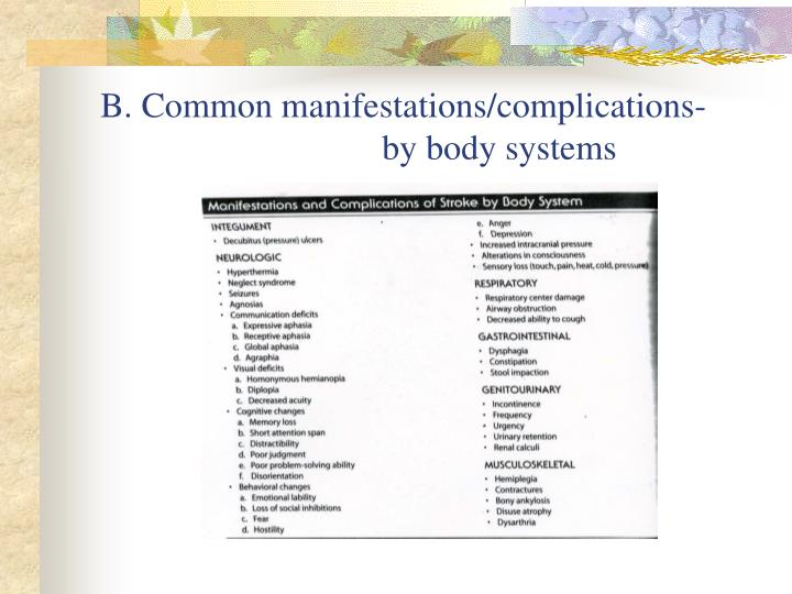 B. Common manifestations/complications-