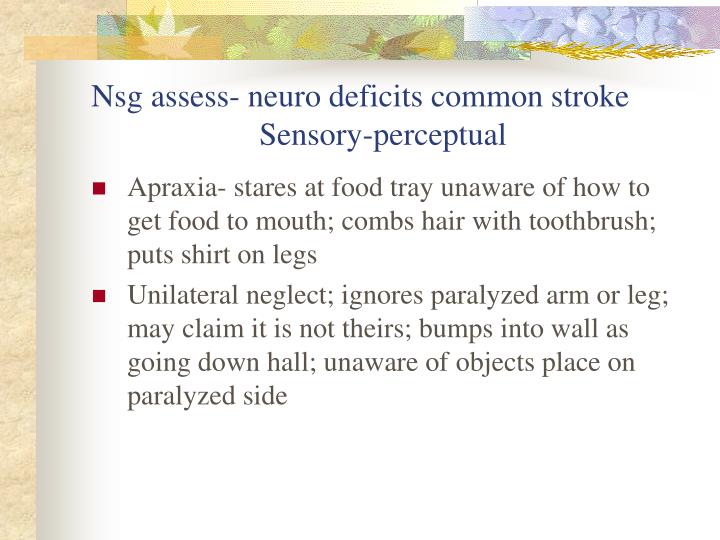 Nsg assess- neuro deficits common stroke
