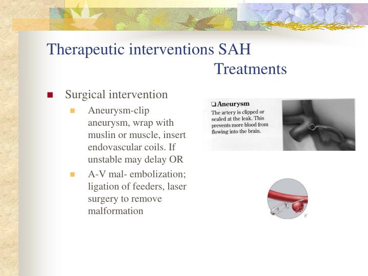 Therapeutic interventions SAH