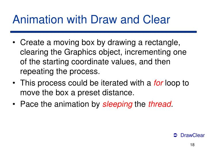 Animation with Draw and Clear