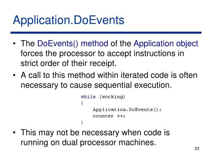 Application.DoEvents