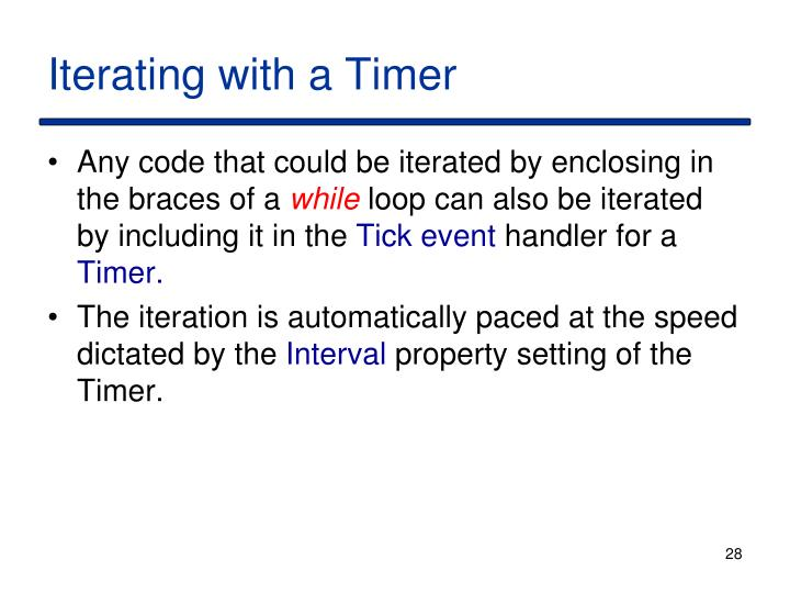 Iterating with a Timer