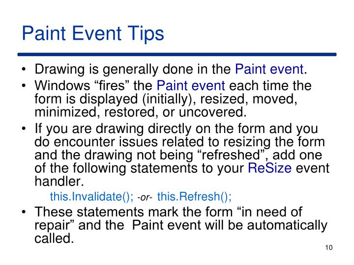 Paint EventTips