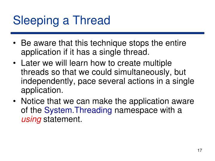 Sleeping a Thread