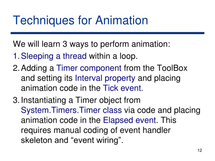 Techniques for Animation
