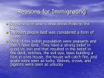 reasons for immigrating