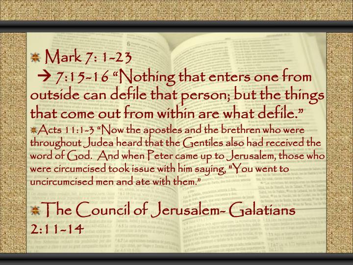 Mark 7: 1-23