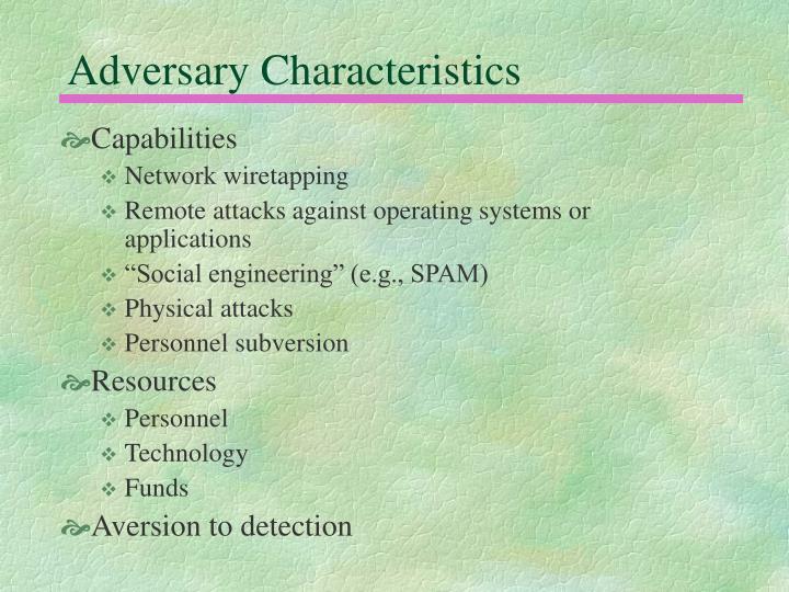 Adversary Characteristics