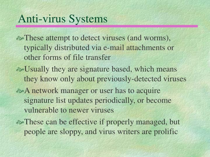 Anti-virus Systems