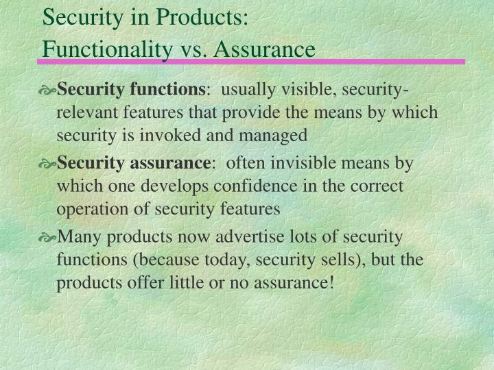 Security in Products:
