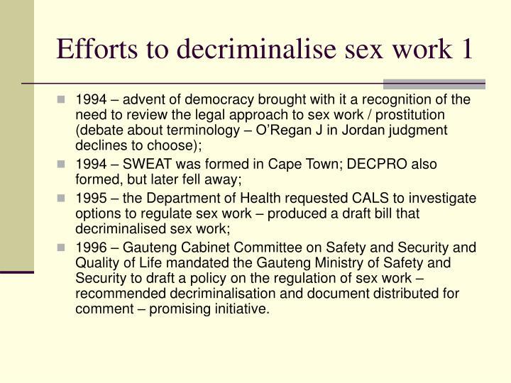 Efforts to decriminalise sex work 1
