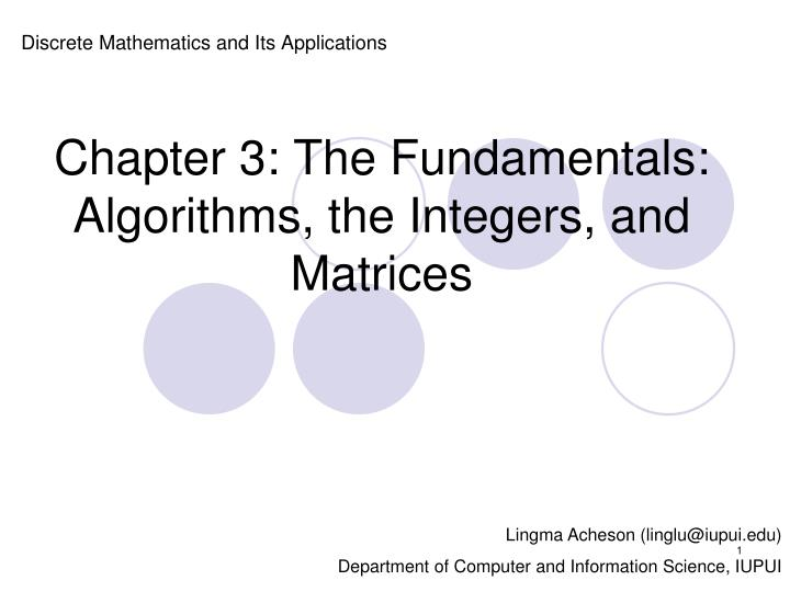 Chapter 3 the fundamentals algorithms the integers and matrices