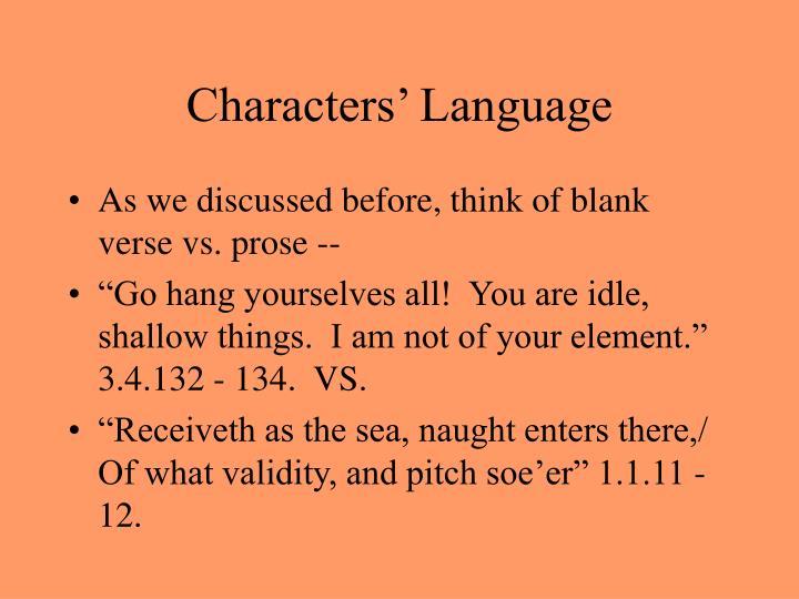 Characters' Language