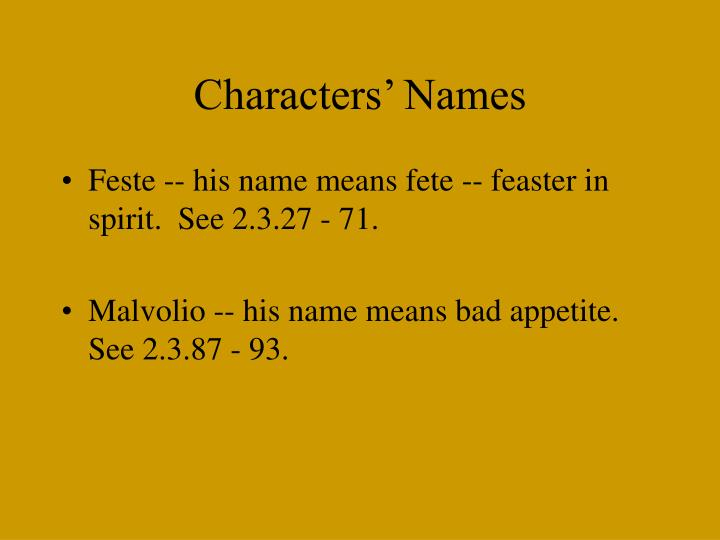 Characters' Names