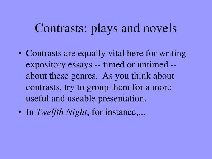 Contrasts: plays and novels