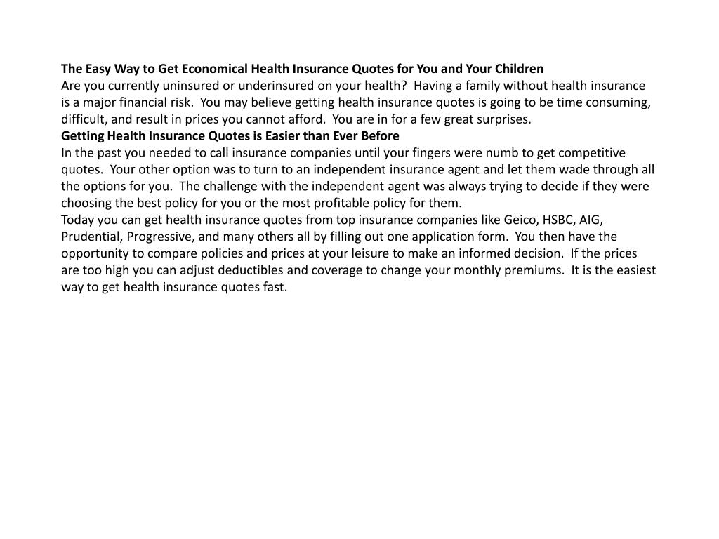 The Easy Way to Get Economical Health Insurance Quotes for You and Your Children