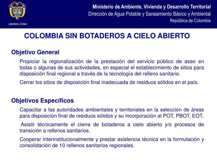 COLOMBIA SIN BOTADEROS A CIELO ABIERTO