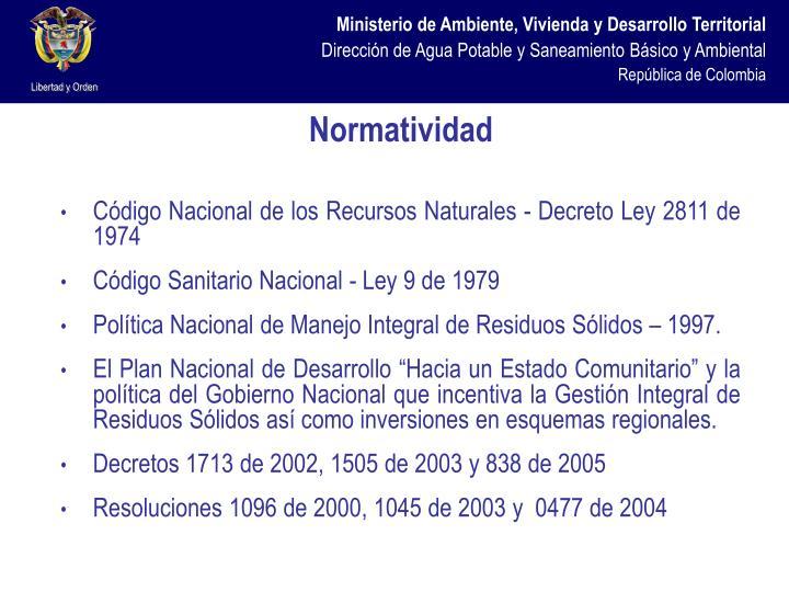 Código Nacional de los Recursos Naturales - Decreto Ley 2811 de 1974