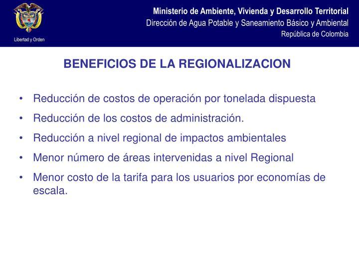 BENEFICIOS DE LA REGIONALIZACION