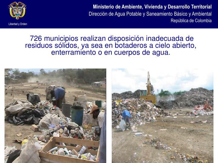 726 municipios realizan disposición inadecuada de