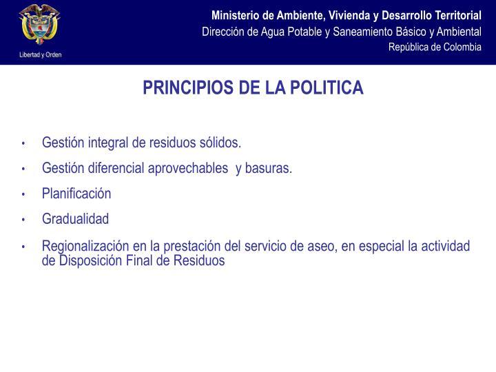 PRINCIPIOS DE LA POLITICA