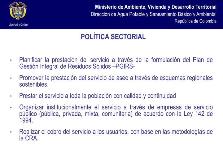 POLÍTICA SECTORIAL