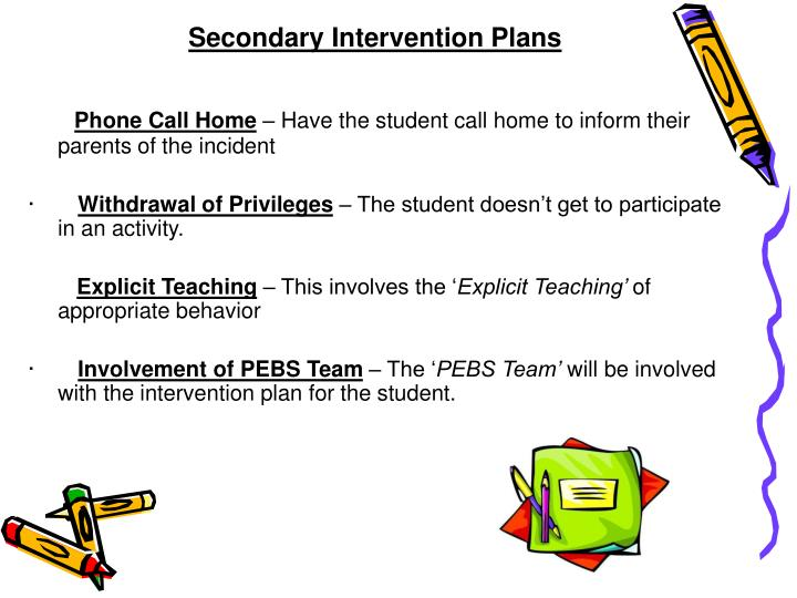 Secondary Intervention Plans