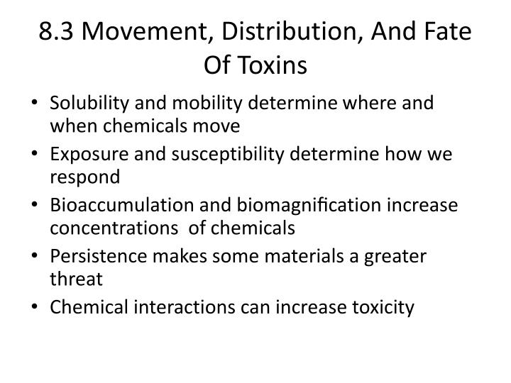 8.3 Movement, Distribution, And Fate Of Toxins