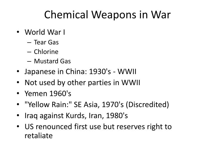 Chemical Weapons in War