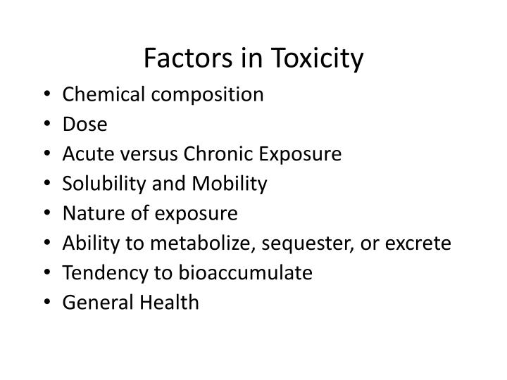 Factors in Toxicity