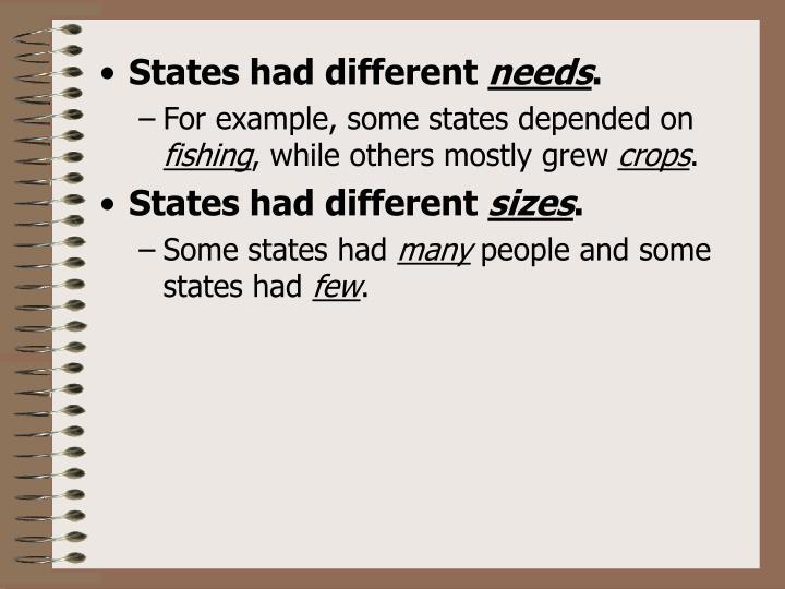 States had different