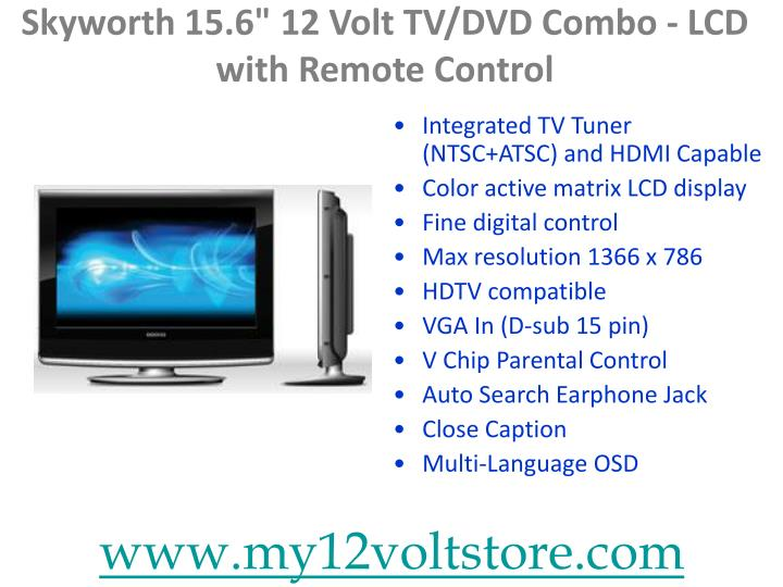 "Skyworth 15.6"" 12 Volt TV/DVD Combo - LCD with Remote Control"
