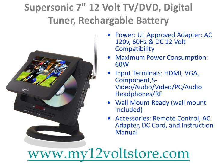 Supersonic 7 12 volt tv dvd digital tuner rechargable battery