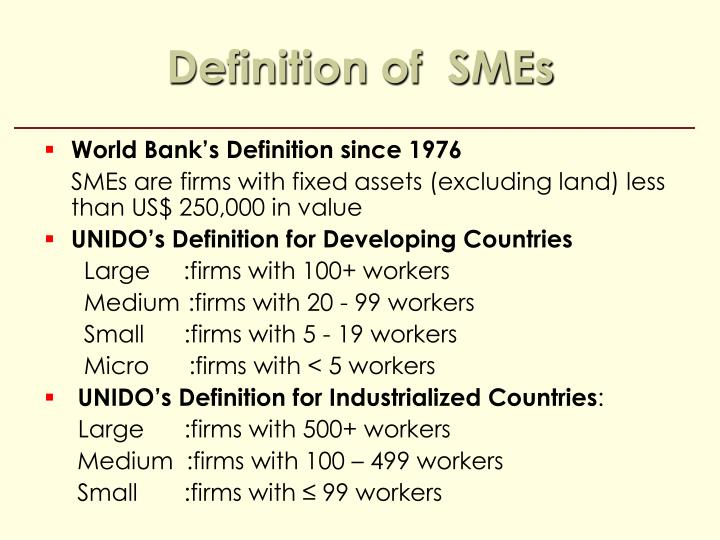 Definition of  SMEs