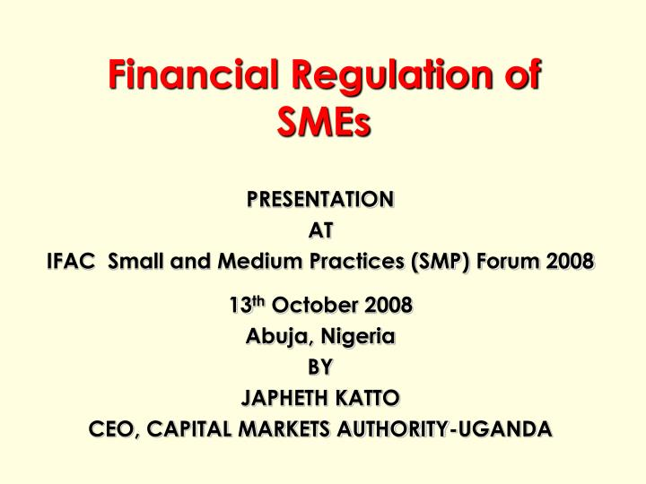 financial regulation of smes