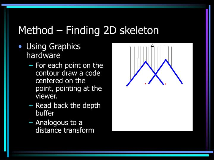 Method – Finding 2D skeleton