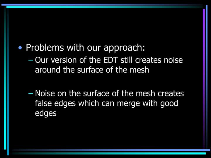 Problems with our approach: