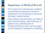 importance of medical record
