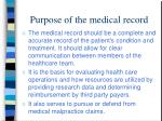 purpose of the medical record