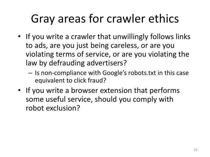 Gray areas for crawler ethics