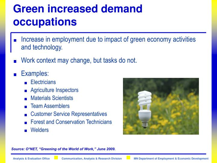 Green increased demand occupations